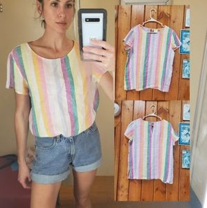 C&C California 100% Linen Rainbow Pastel Top Sz Sm